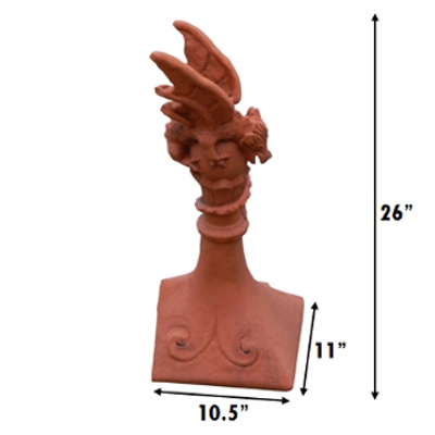 Block end mini dragon finial measurements