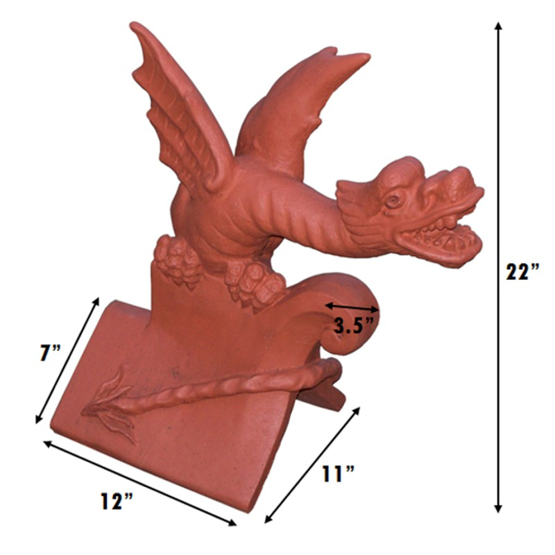 orient chinese dragon finial measurements
