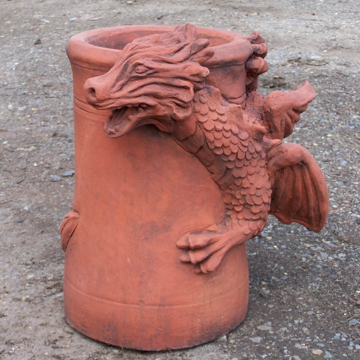 aged terracotta dragon chimney pot