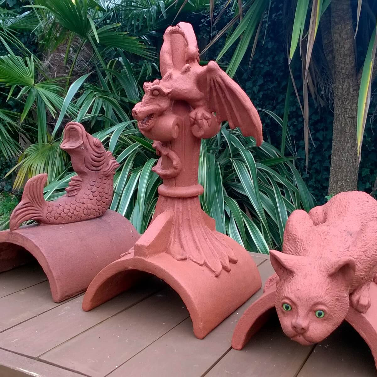 dragon cat and fish roof finials