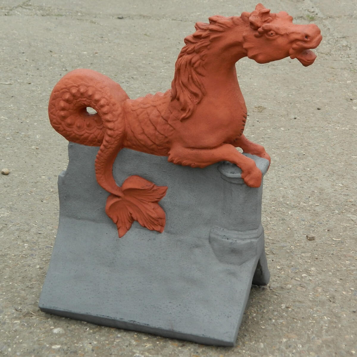 terracotta and grey poseidon horse finial